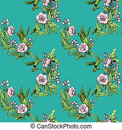 Seamless pattern. Colibri and flowers on blue background....