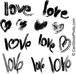 Set of brush strokes and scribbles in heart shapes and words LOV