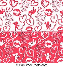 Seamless pattern with brush strokes and scribbles in heart shape