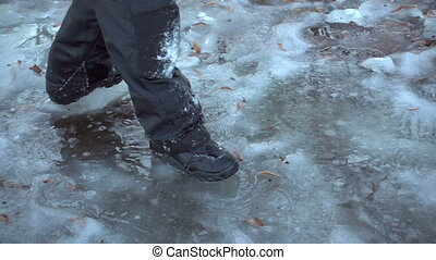 Boy running on thin ice, slow motion - Boy running on thin...