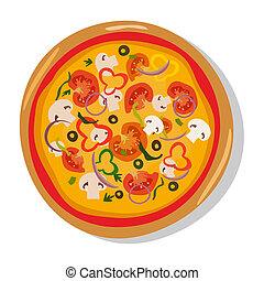 Flat hot pizza icons. isolated on white, pepperoni . -...
