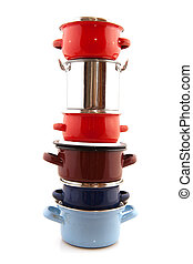Pots and pans - Big stack with pots and pans isolated over...