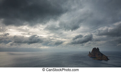 Time Lapse Clouds over the mysterious island of Es Vedra -...