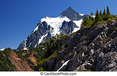Mount Shuksan Close Up Evergreens Artist Point Washington State