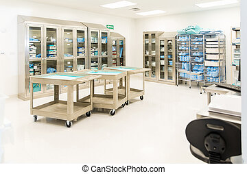Sterile instrument and clothing storage room - Wide view of...