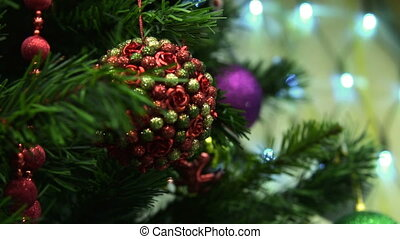 Decorated Christmas tree - Close-up shot of Christmas tree...