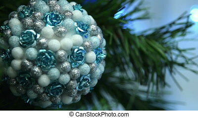 Chritmas ball on the tree - Close-up shot of Christmas blue,...