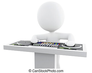 3d White people DJ with mixer. - 3d Illustration. White...