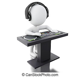 3d White people DJ with mixer and headphones. - 3d...
