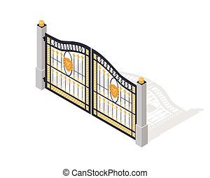 Iron Gate Opens and Closes from Middle Isolated