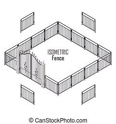Isometric Fence in Dark Colors Isolated on White.