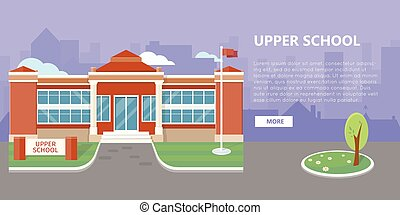 Upper School Building Vector in Flat Style Design - Upper...