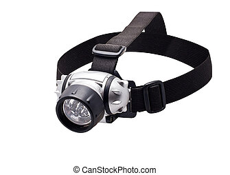 Headlamp flashlight - isolated headlamp flashlight with...