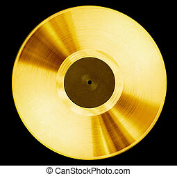 Vinyl disc - old record music disc award isolated on black
