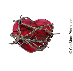 Barbed Wire around Heart - Sharp barbed wired used as a...