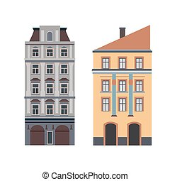 Beautiful detailed linear cityscape collection with townhouses. Small town street  victorian building facades. Template for web, graphic, game and motion design. Vector illustration