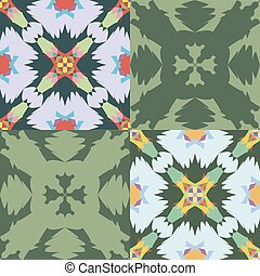 PattSet of seamless ornamental patterns Colorfull and green tones.