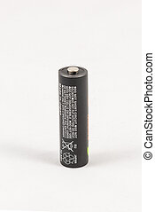 Single unbranded black AA rechargeable battery, isolated on...