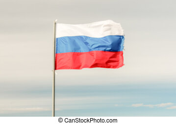 Defocused background with Flag of Russian Federation....