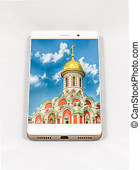 Modern smartphone displaying full screen picture of Moscow,...