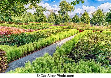 Idillic garden inside Gorky Park, Moscow, Russia - Idillic...