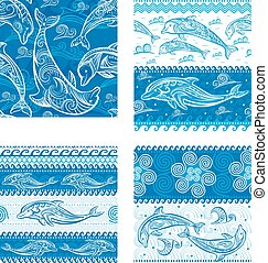 Set of Seamless pattern with dolphins