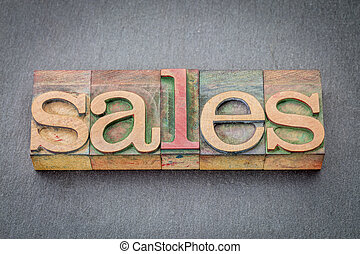 sales word abstract in wood type