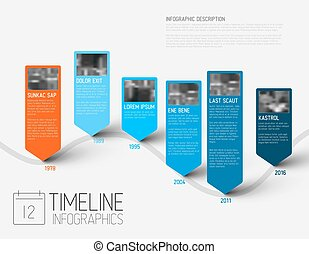 Infographic timeline report template with photos - colorful...