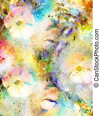 abstract multicolor flower motive collage in space. -...