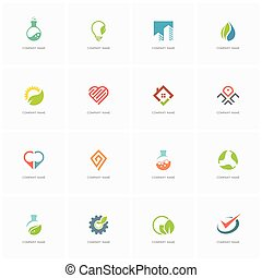 Total logo set 3 - real property, science, industry, love,...