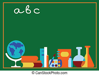 labaratory and school accessories, on green board
