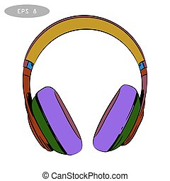 vector hand-drawn sketch of headphones 2
