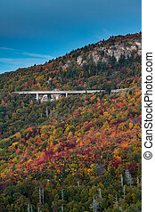 Leaves Changing Color Around Linn Cove Viaduct in Fall...