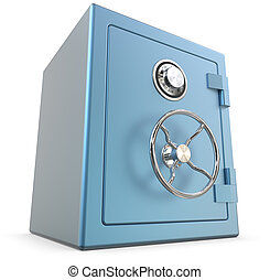 Blue Safe. - 3D render of a Blue closed Security Safe.