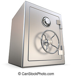 Steel Safe. - 3D render of a closed Security Safe. All...