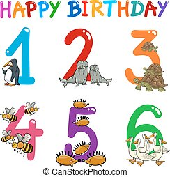birthday greeting cards - Cartoon Illustration Design of the...