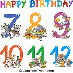 birthday greeting cards design - Cartoon Illustration Design...