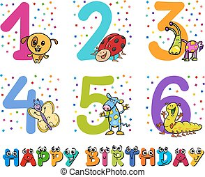 birthday greeting cards collection - Cartoon Illustration...