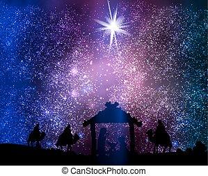 Christmas star on the hut of Jesus Christ on space...