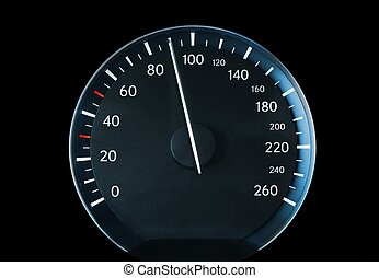 Speedometer of a car showing 90, glowing blue