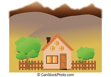 Illustration of a cartoon house with mountains in autumn season