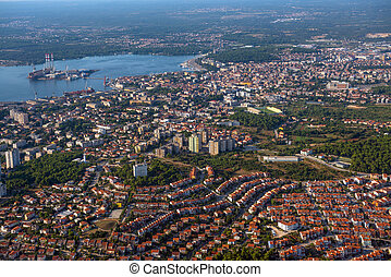 City of Pula, croatia, aerial view from above