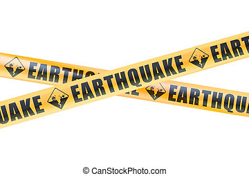 Earthquake Caution Barrier Tapes, 3D rendering isolated on...