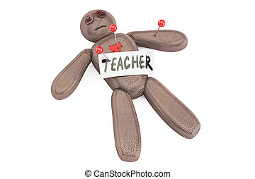 Teacher voodoo doll with needles, 3D rendering
