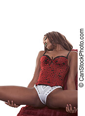 red lingerie ethnic sensual black woman on couch - young...