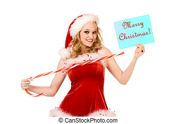 Merry Christmas from Sexy pin up Mrs Santa Claus - Blond...