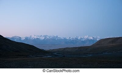 Dawn in the mountains. Plateau Kara-Say (3.800 m.)...