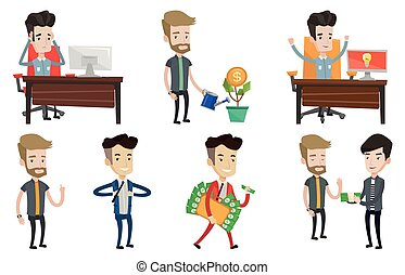 Vector set of business characters. - Businessman giving a...
