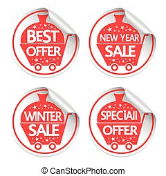 Set of New Year Holiday stickers sale