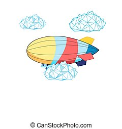Vector bright airship on a white background